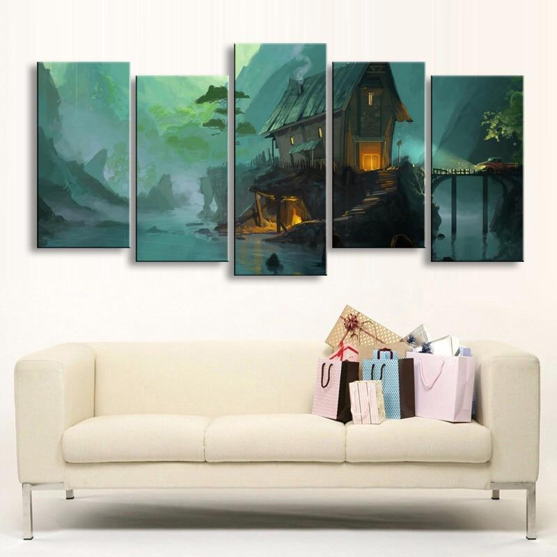 5 Pieces High Definition Print Fantasy Art Architecture Canvas Oil