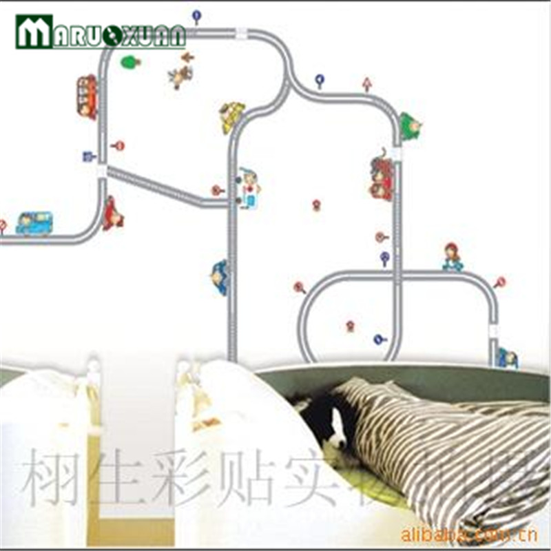 Free shipping new highway track cartoon car wall stickers for Car wall mural wallpaper