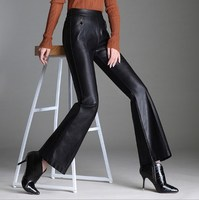 Womens Elastic High Waist Pants Pu Leather Women Push Up Slim Flare Pants Women Work Dress Faux Leather Trousers Black 4XL