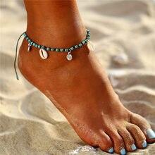 Rinhoo Boho Beach Shell Pendant Anklets  Vintage Stone Beads Ankle Bracelet Adjustable Foot Leg Jewelry For Women