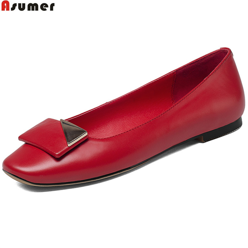 цена ASUMER black red beige fashion square toe shallow casual ladies single shoes women genuine leather shoes flats big size 33-43