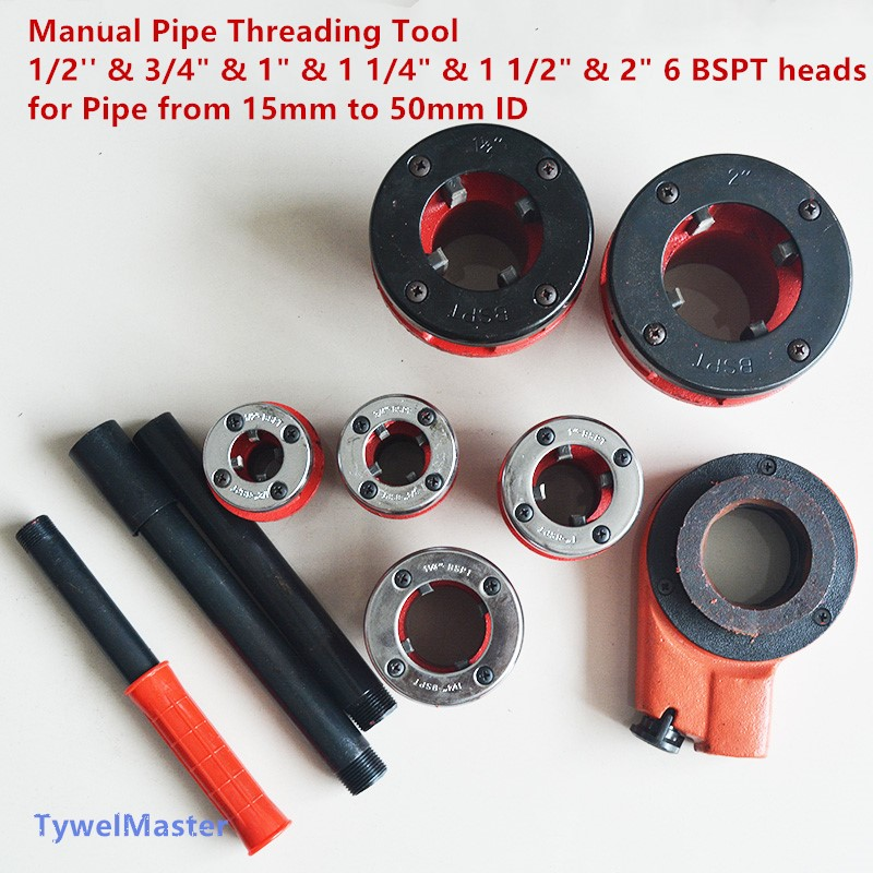 Manual Pipe Threading Tool 1/2'' & 3/4 & 1 & 1 1/4 & 1 1/2 & 2 6 BSPT Die Heads for Galvanized Steel Pipe 15-50mm военные игрушки для детей gaming heads 1 4