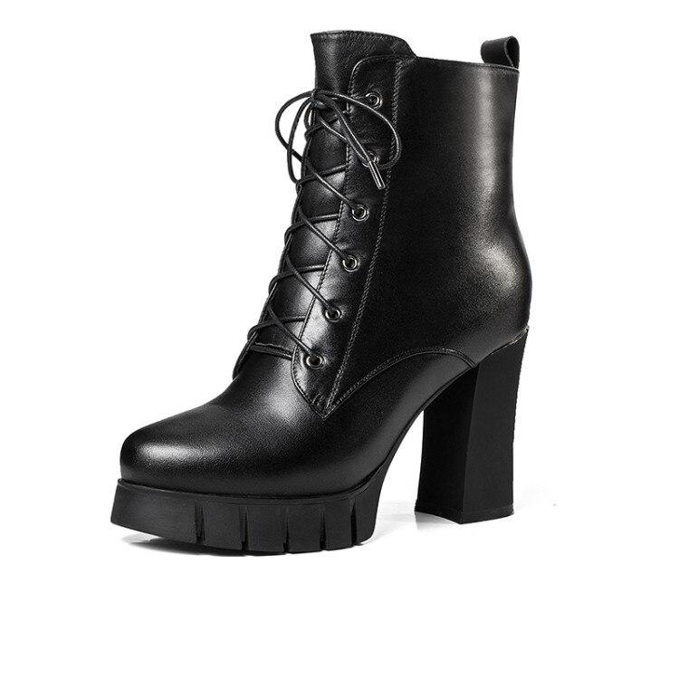 En Mljuese Cheville Talons Plate Chaussures forme Moto Hiver Hauts Black Bureau Chaud Noir De Femmes Bottes Couleur Vache 2018 Cisaillement Cuir qppnIwxAC