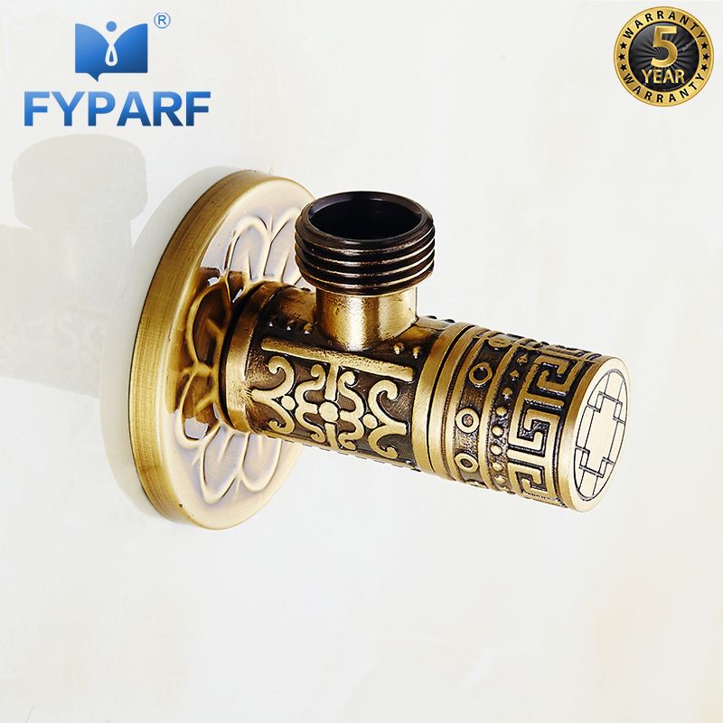 FYPARF Faucet Replacement Parts 1/2″ x 1/2″ Antique Brass Angle Stop Valve Shut Off Water Triangle Valve for Faucet and Toilet