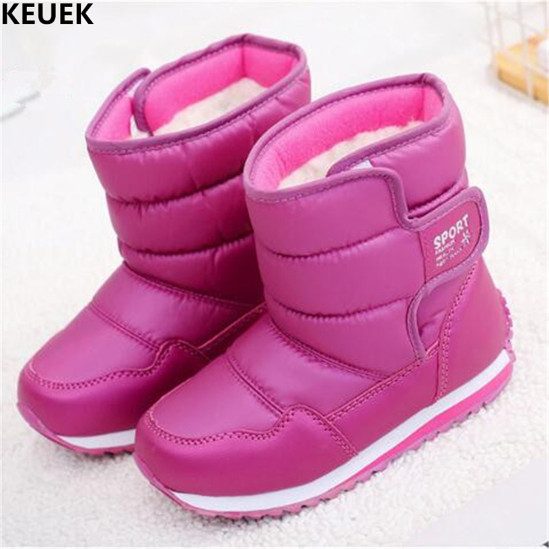 New Winter Thick Plush Children Snow Boots Girls Boys Warm Cotton boots Baby Student Waterproof Ankle Boots Kids Shoes 04 new designer children cowboy boys boots knitting fabric upper ankle boots kids orthopedic sport gym shoes for girls baby boots