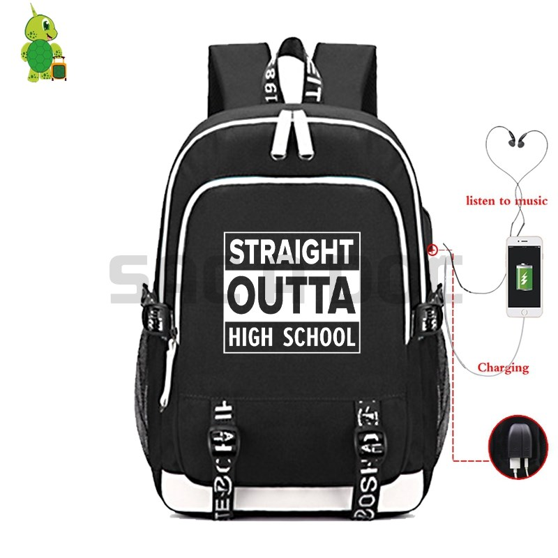 Straight Outta High School Backpack Laptop Backpack for Teenage Boys Girls Multifunction USB Charge Backpack Travel RucksackStraight Outta High School Backpack Laptop Backpack for Teenage Boys Girls Multifunction USB Charge Backpack Travel Rucksack