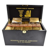 Festival Souvenirs 1200pcs Zimbabwe One Hundred Trillion Dollar Gold Banknote with Wooden Box for Gift