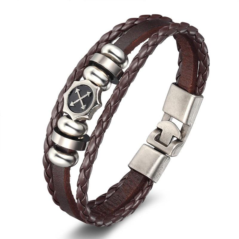 18 New Fashion 3 layer Leather Skull Bracelets&Bangles Handmade Round Rope Turn Buckle Bracelet For Women Men Charm bracelet 5