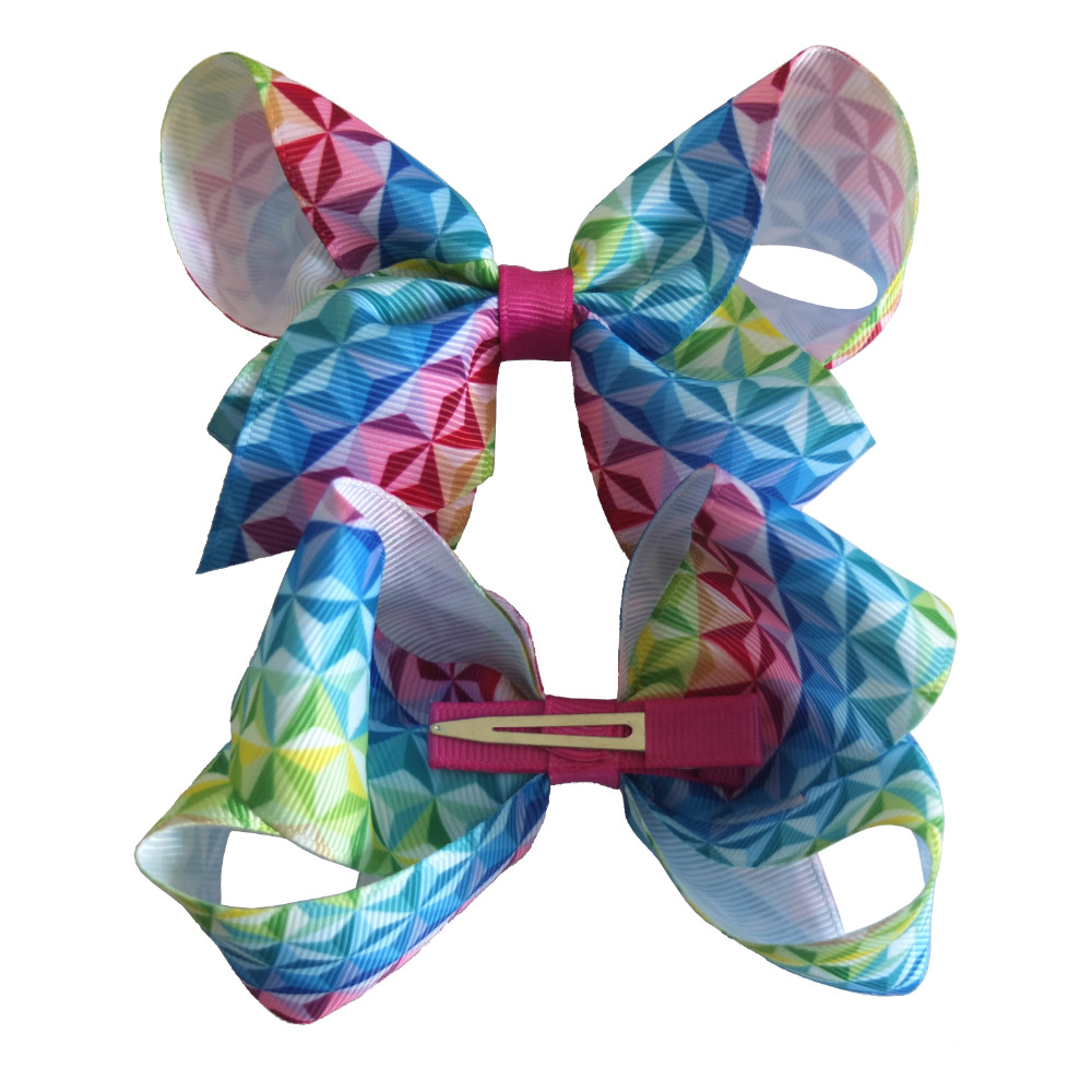 diamond pattern hair bow kids girls