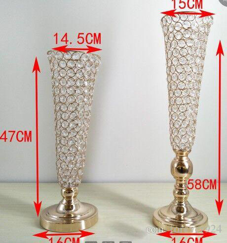 58 cm Tall Crystal Gold Wedding Flower Vase Metal Table Centerpiece Flower Stand Wholesale Cheap Tabletop & 58 cm Tall Crystal Gold Wedding Flower Vase Metal Table Centerpiece ...