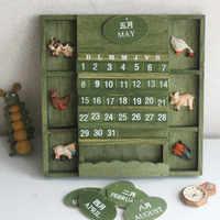 Country Style Home Decorative Wall Calendar Wooden Craft Universal Calendar 2019 Perpetual calendar wooden hanging calendar