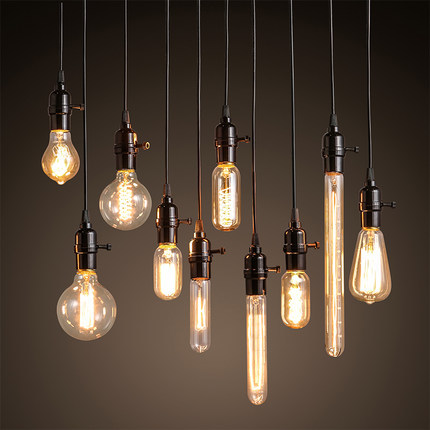 Vintage l 39 industrie suspension lampes edison ampoule for Luminaires suspension cuisine bar