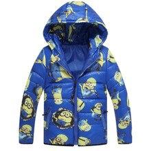 Миньон куртка гадкий я мальчики девушки зимнее пальто миньон зимней одежды вниз теплый ребенок Snowsuit детей с капюшоном пальто