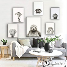Black and White Funny Animals Posters Prints Wall art Decorative Picture Canvas Painting For Living Room Home Decor Unframed