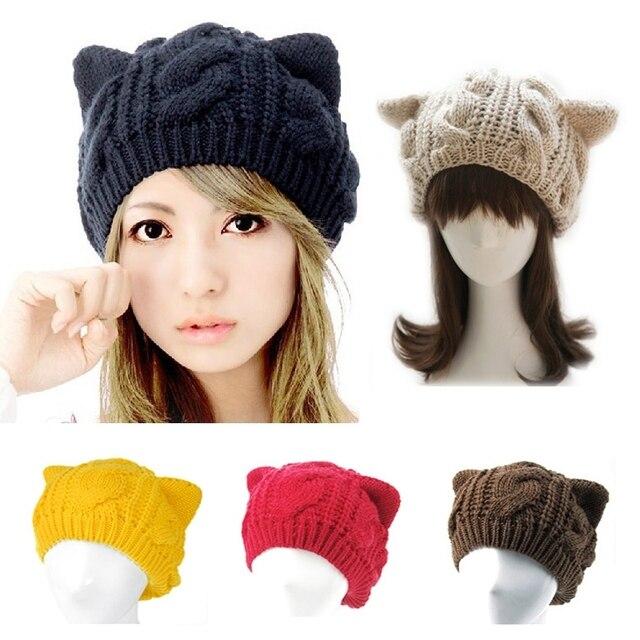 Gorros de mujer invierno niñas tejer lana gato oreja beanie tejido  calentador de oreja gorros lindo a7aef81508a