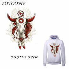 ZOTOONE Iron on Stickers Patches for Clothes Cool Red Feather Bull Head Patch DIY Accessory Heat Transfer Sticker Appliques