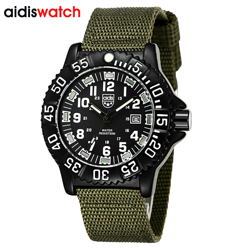 Aidis Super Military Mens Sport Watch LED Luminous Army Green Nylon Quartz Watches Waterpoof Diving Wristwatch relogio masculino hot unique wristwatch army military auto mechanical mens sport watch