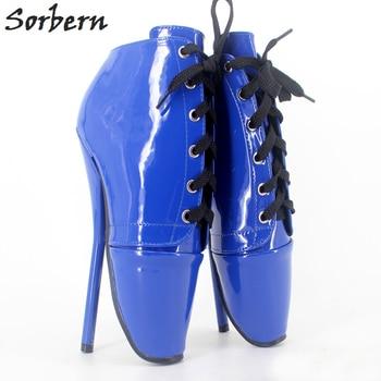 Sorbern Frauen Ankle Pumps Plus Größe Ballett Dünne Ferse Schuhe Lace Up Homosexuell Unisex Party Pumpe Nach Maß Farbe 18 CM/7 ''Heels
