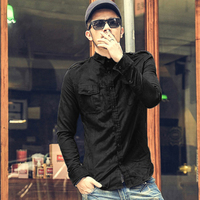 2017 Men Long Sleeve Fashion Casual Cotton Shirts Men Solid Color High Quality Autumn Hip Hop