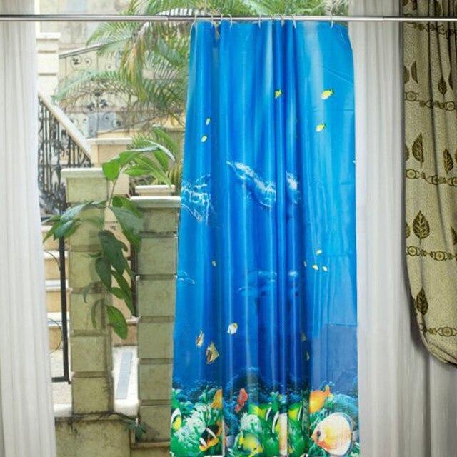 180*180cm Tropical Beach Dolphin Sea Fish Shower Curtain Blue Ocean ...