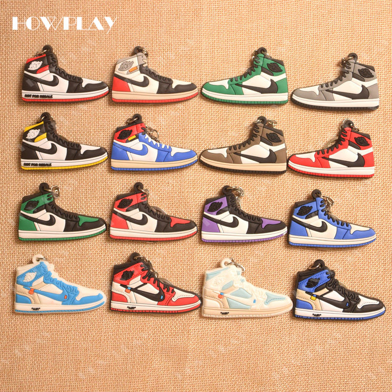 HowPlay mini sneakers keychains jordan 1 bag charm basketball shoe model keyring AJ1 backpack pendant key holder creative gifts