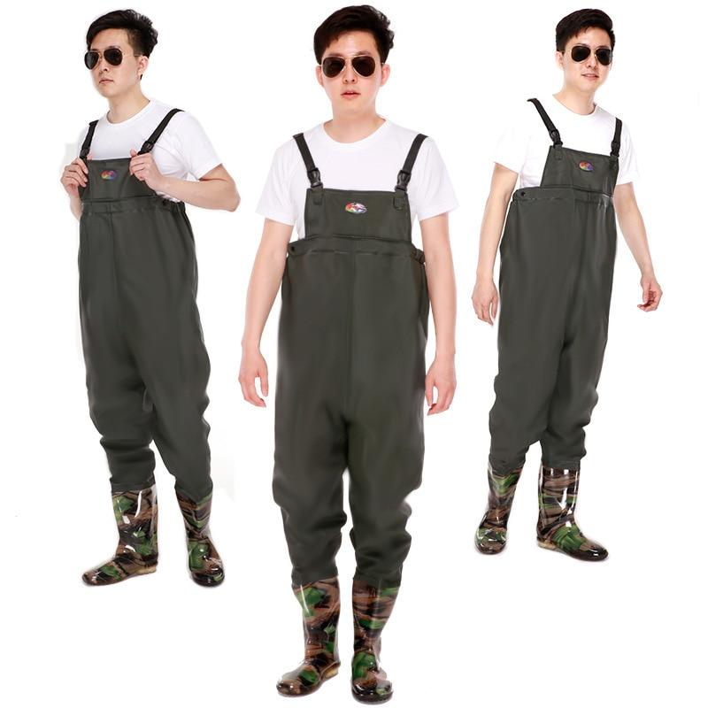 206964fcfc8ea 46 Size Men Women Outdoor Waterproof Fishing Hunting Suspender Rain Pants  Boots Thicken Warm PVC Wearproof Breathable Pants - aliexpress.com -  imall.com