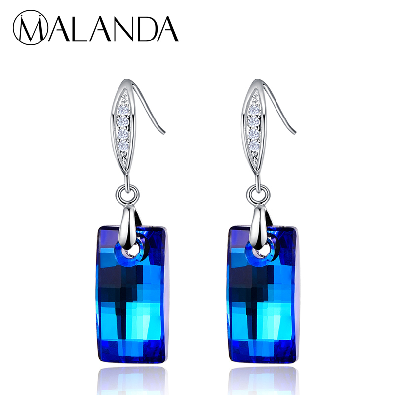 MALANDA Brand 2018 New Fashion Urban Pendant Crystal From Swarovski Drop Earrings For Women Dangle Earrings wedding Jewelry Gift все цены