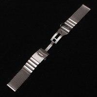 22 ملليمتر فضة watchbands شبكة معدنية خاصة مستقيم النهاية الفضة المقاوم للصدأ الرجال حزام حزام قفل مزدوج الوجه أساور