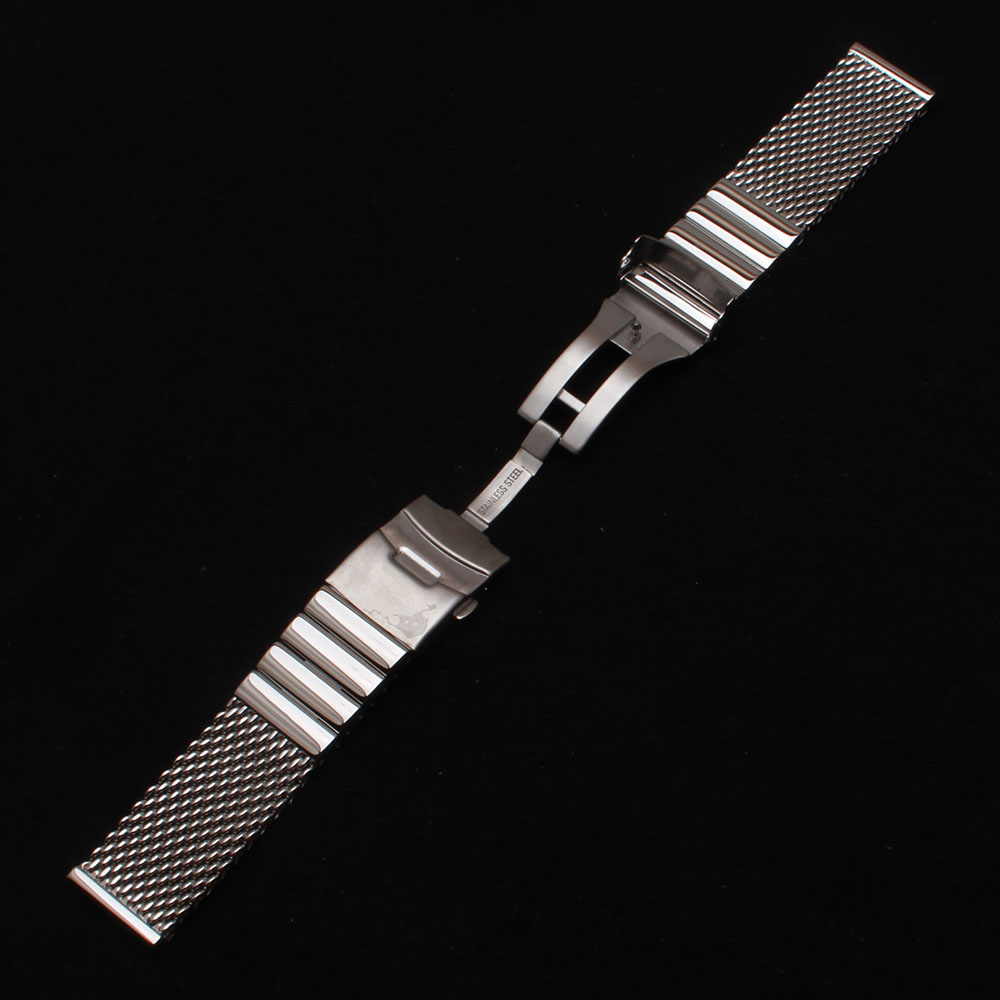 22mm Silver metal Watchbands mesh special straight end silver Stainless Steel Men's Watch Band Strap Double Lock Flip Bracelets top quality new stainless steel strap 18mm 13mm flat straight end metal bracelet watch band silver gold watchband for brand