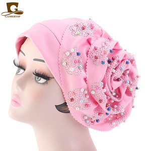 Image 2 - Fashion Women Luxury Muslim Hijab Beaded King Flower Turban Headwrap Chemo Turban Ladies Bandanas Hair Accessories