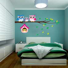 1 pcs LESUPERAY Cute Cartoon Owl Family Mural PVC Wall Stickers for Kids Baby Room Removable Decal Waterproof Home Decor