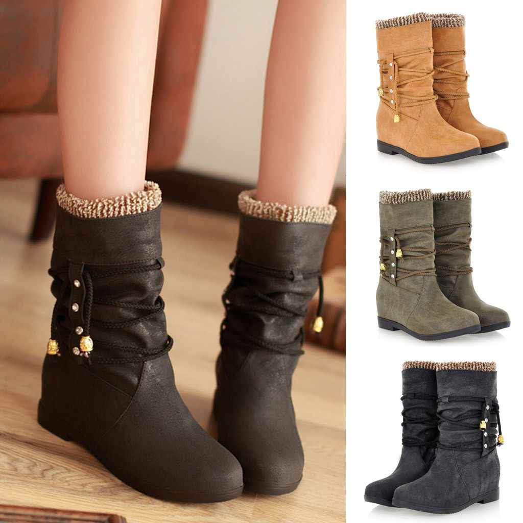 Women Boots Fashion Increase Within Boot Student Casual Middle Tube Large Size Boots Female Autumn Winter Shoes M50#