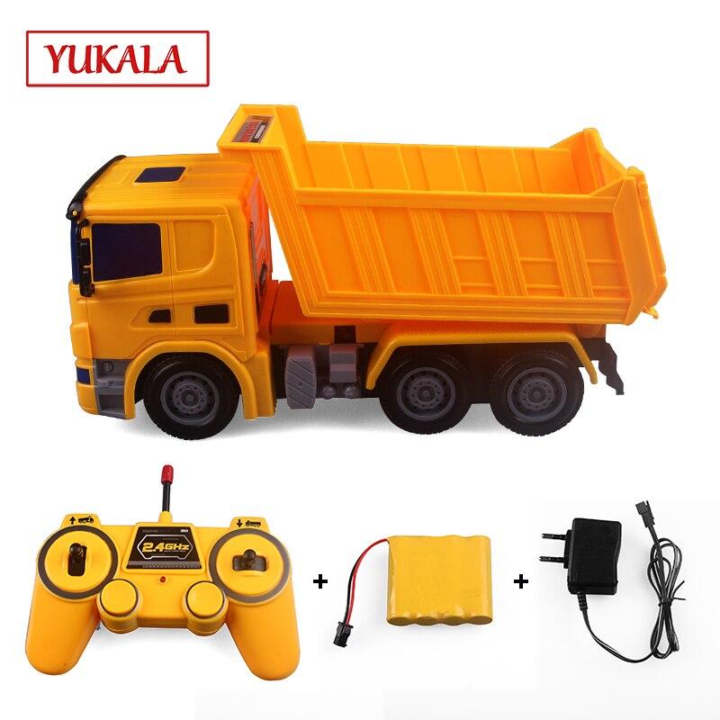 YUKALA RC camion (tracteur télécommandé) mélangeur à benne basculante d'ingénierie modèle voiture jouets pour garçons.