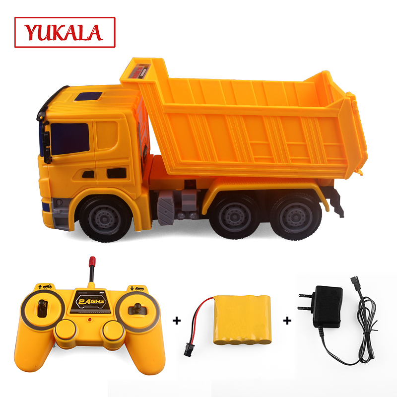 YUKALA RC truck remote control tractor carro excavator voiture Engineering Dump Mixer model car toys for boys children kids
