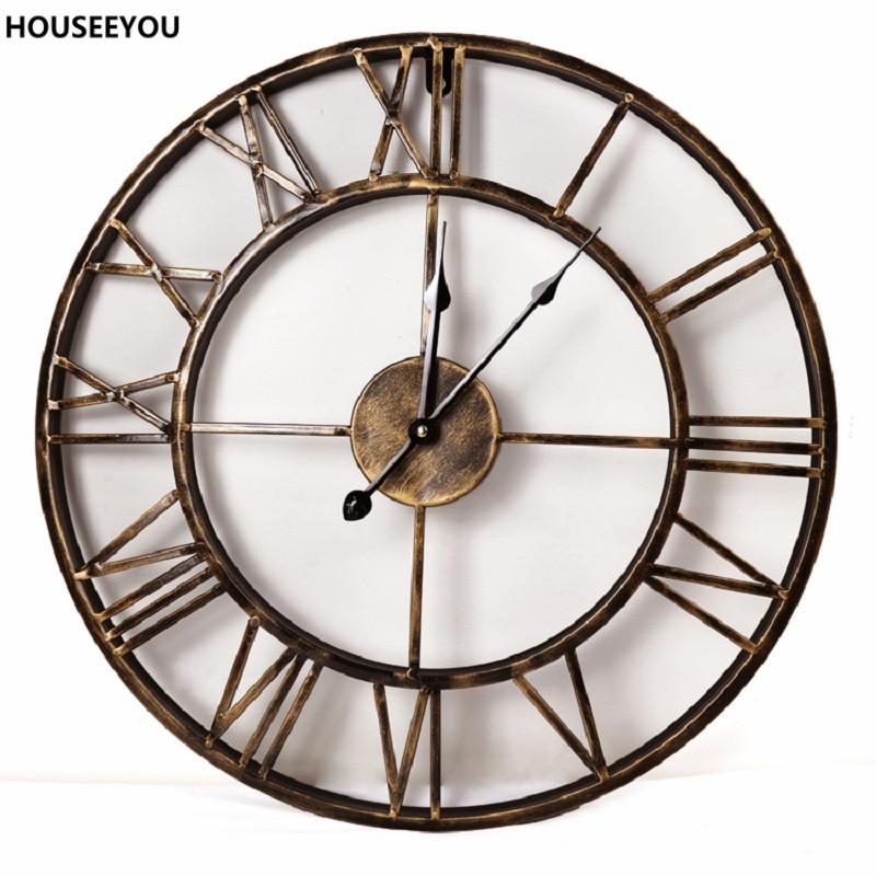 Vintage 3D Grosse Wanduhren Schmiedeeisen Hause Decor Einfachen Handwerk Fr Esszimmer Wohnzimmer Parede Reloj De