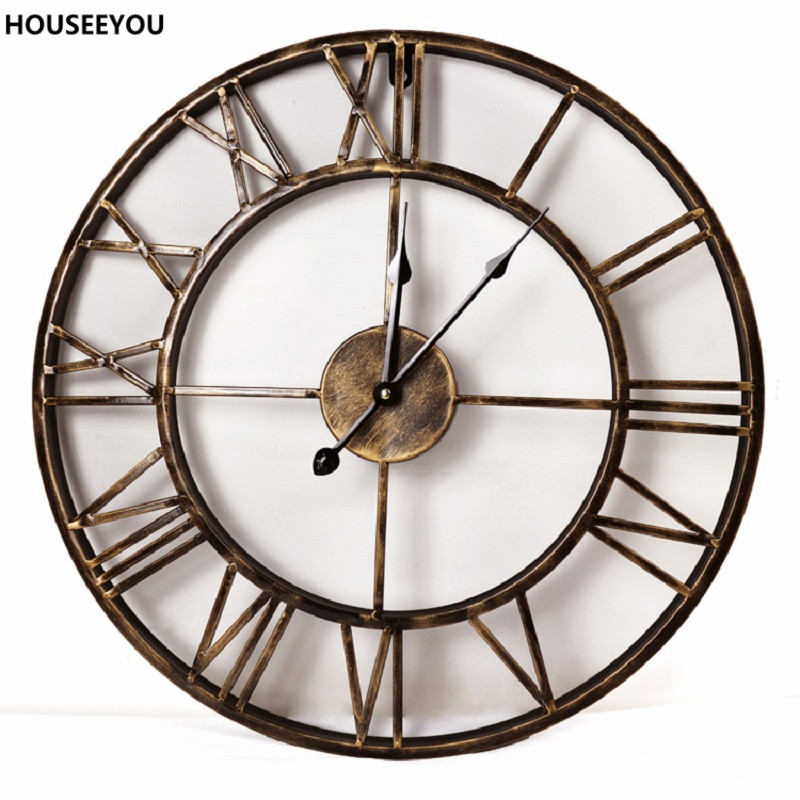 Vintage 3d large wall clocks wrought iron wall clocks for Orologi d arredo
