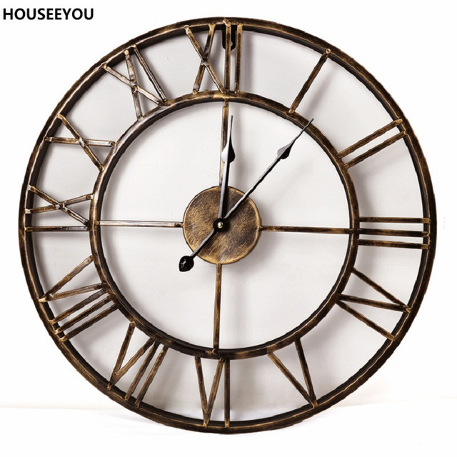 Vintage 3D Large Wall Clocks Wrought Iron Wall Clocks Watch Home Decor  Simple Craft For Dining Living Room Parede Reloj De Pared