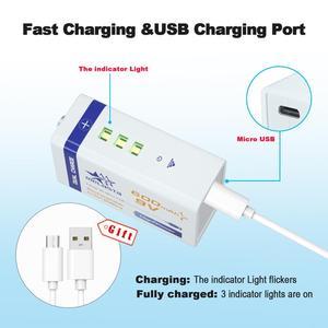 Image 2 - Micro USB 9V 600mAh 6F22, 3 pièces, batterie lithium ion rechargeable, pour alarme de fumée, microphone sans fil, guitare, interphone, multimètre EQ