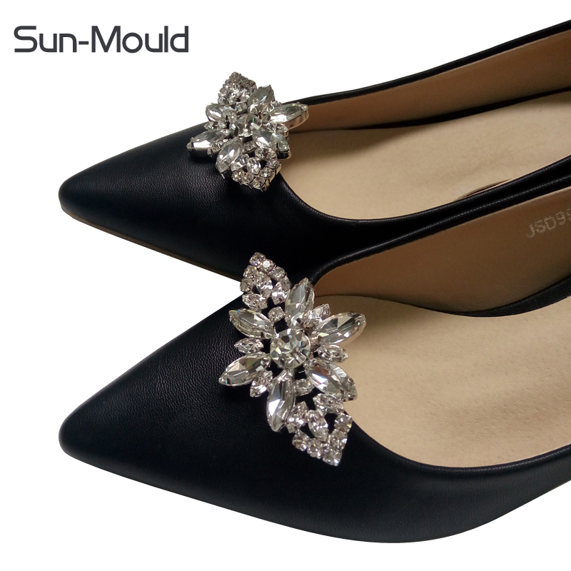 Diy shoes flower charms bridal high-heel pumps accessories crystal diamond shoe clips Fa ...