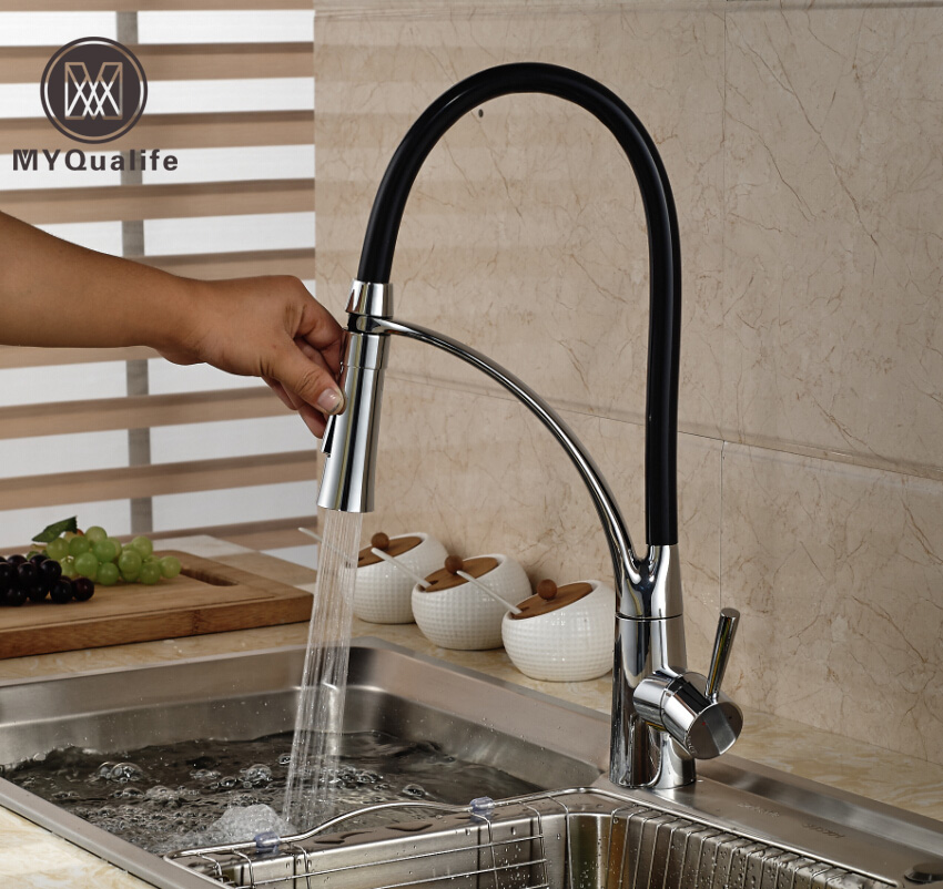 Luxury Dual Sprayer Nozzle Kitchen Mixer Faucet Single Handle with Bracket Chrome Finish Hot and Cold