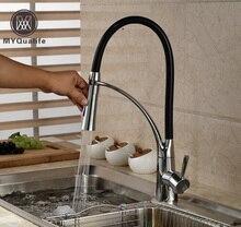 Роскошный двойной сопла распылителя кухня смеситель для одной ручкой с кронштейном хромированная отделка горячей и холодной воды