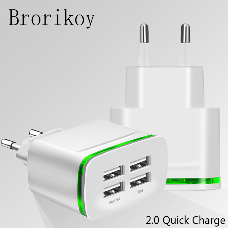 4 Ports 5V 2.1A Smart Travel USB Charger Adapter Portable for iPhone Samsung phone Charger Micro Type-C Cable Fast Charging