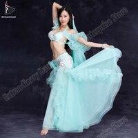 Живота Танцы костюмы Бюстгальтер и юбка ступень танцевальное аксессуаров бюстгальтер алмазов длинная юбка Oriental карнавал бюстгальтер 2 шт.