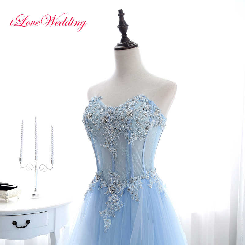 e2ad3169fe7 ... Elegant Light Blue Long Prom Dresses Sleeveless Sweetheart Tulle Lace  Applique Beading Women Bandage Prom Gowns ...