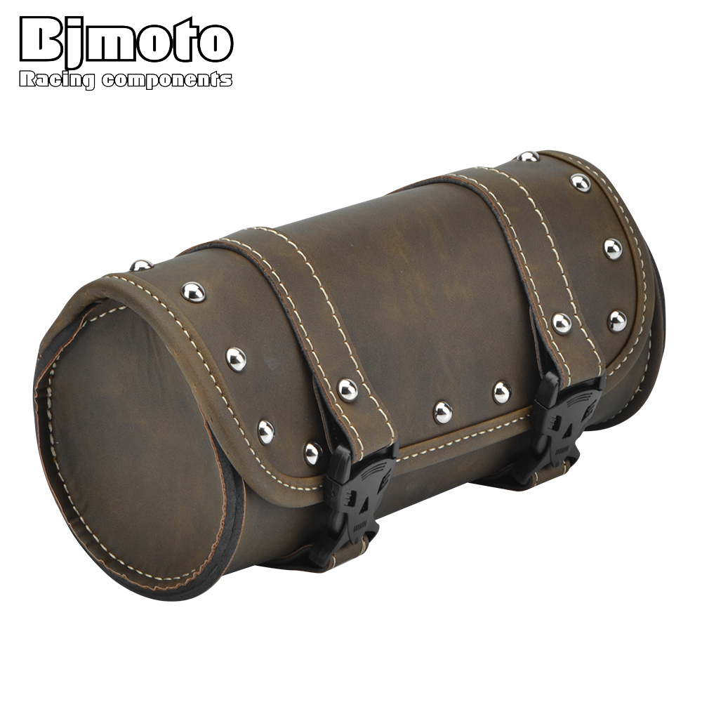 BJMOTO Vintage Black Brown Motorcycle Saddle Bags PU Leather Motorbike Side Tool Tail Bag Luggage for Harley Universal цена