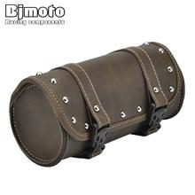 BJMOTO Vintage Black Brown Motorcycle Saddle Bags PU Leather Motorbike Side Tool Tail Bag Luggage for Harley Universal