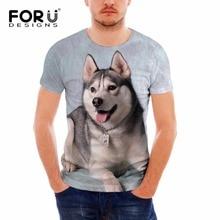 FORUDESIGNS Cool Husky Dog Men/Women T Shirt Summer Tops Tees Animal Print T-Shirt Men o-neck Short Sleeve Fashion Tee Shirts men abstract animal print tee