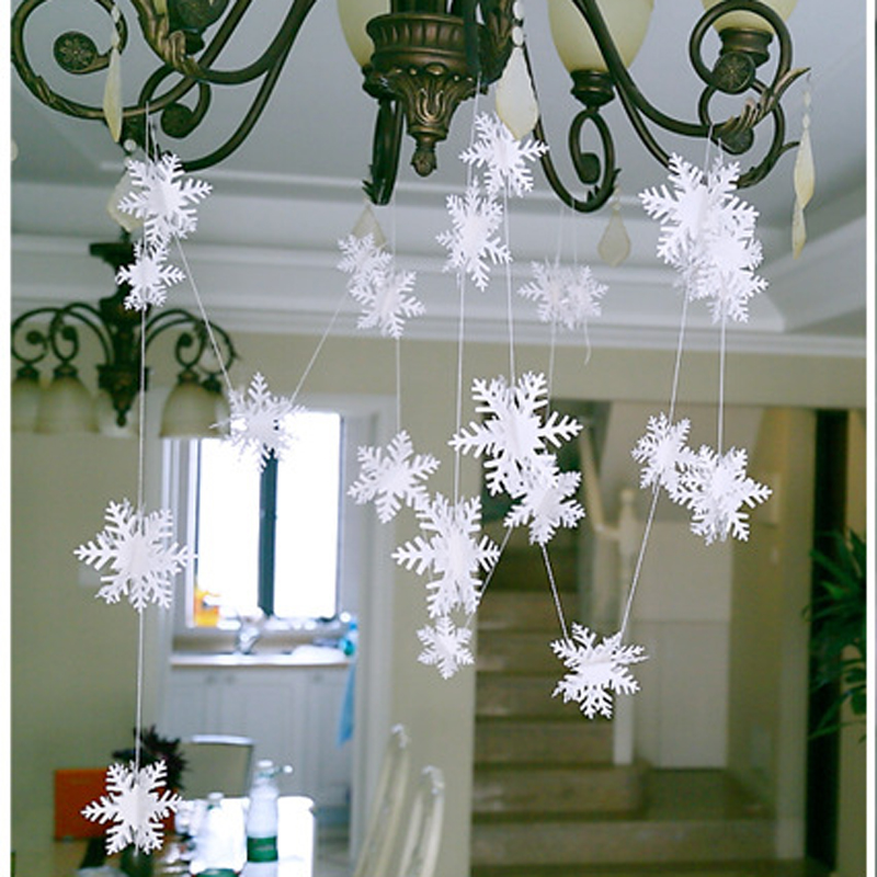 3d карты Бумага Рождество белый Снежинка Бумага цветы гирлянда баннер для свадьбы праздничное фестиваль партия Домашний Декор 3 м
