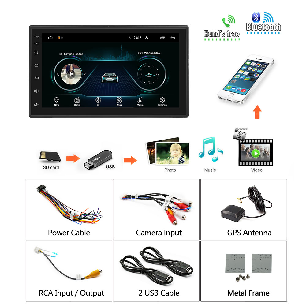 Podofo 2din Android Car Radio multimedia player Autoradio 2 Din 7'' GPS WIFI Bluetooth FM Touch screen auto audio player stereo