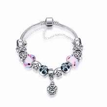 2016 Women Bracelet Fashion Retro Colorful Elegant glass beads Silver Plated Bracelets&Bangles Jewelry Antique Gift Pulseras